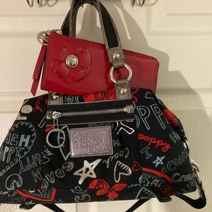 Coach poppy graffiti satchel w/red patent wallet
